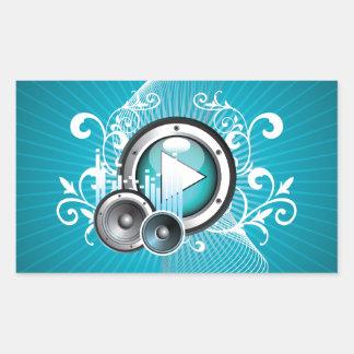ilustração da música com auto-falante e elemento adesivo retangular