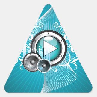 ilustração da música com auto-falante e elemento adesivo triangular