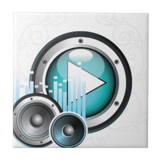 ilustração da música com auto-falante e elemento azulejo quadrado pequeno