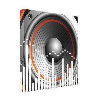 ilustração da música com auto-falante e elemento impressão em tela