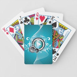 ilustração da música com auto-falante e elemento jogo de carta
