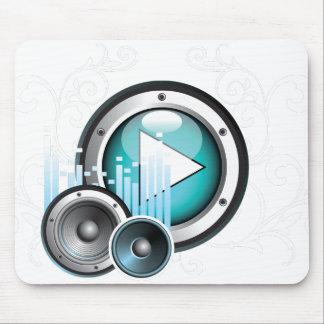 ilustração da música com auto-falante e elemento mouse pad
