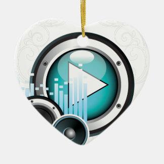 ilustração da música com auto-falante e elemento ornamento de cerâmica coração