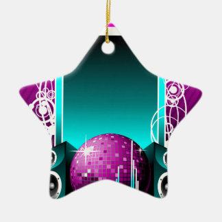 ilustração da música com auto-falante e elemento ornamento de cerâmica estrela