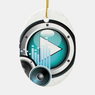 ilustração da música com auto-falante e elemento ornamento de cerâmica oval