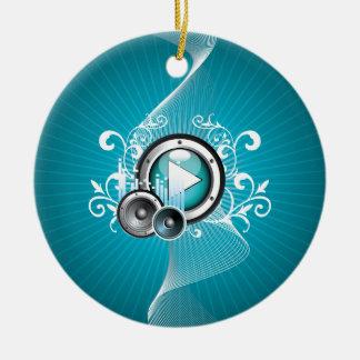 ilustração da música com auto-falante e elemento ornamento de cerâmica redondo