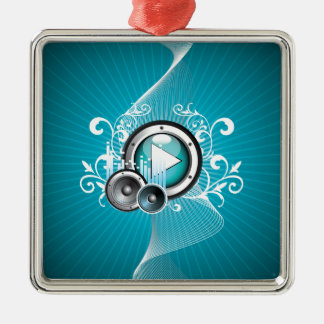 ilustração da música com auto-falante e elemento ornamento quadrado cor prata