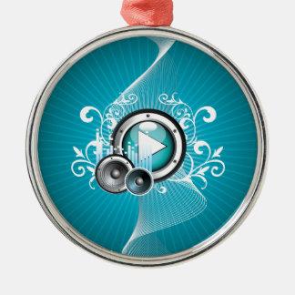 ilustração da música com auto-falante e elemento ornamento redondo cor prata