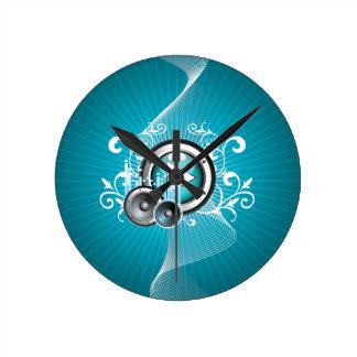 ilustração da música com auto-falante e elemento relógio de parede
