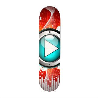 ilustração da música com auto-falante e elemento shape de skate 20,6cm