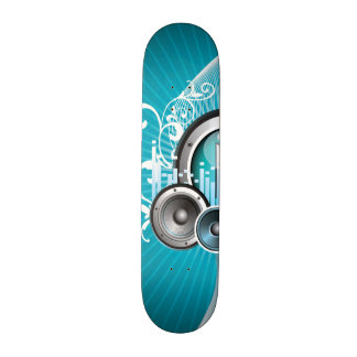 ilustração da música com auto-falante e elemento shape de skate 20cm