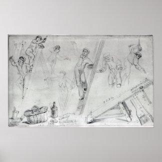 Ilustração da pintura e da decoração posters