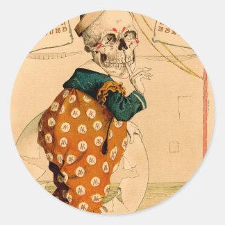 Ilustração de esqueleto do vintage do palhaço adesivo redondo