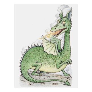 Ilustração de um fogo do esguicho do dragão cartão postal