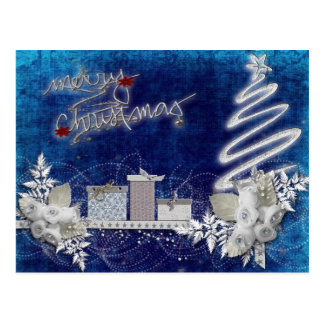 Ilustração do azul do Feliz Natal Cartoes Postais