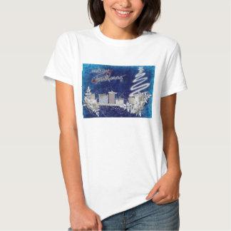 Ilustração do azul do Feliz Natal T-shirts