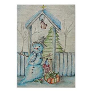ilustração do boneco de neve convite 8.89 x 12.7cm