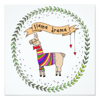 Ilustração do drama do lama convite quadrado 13.35 x 13.35cm