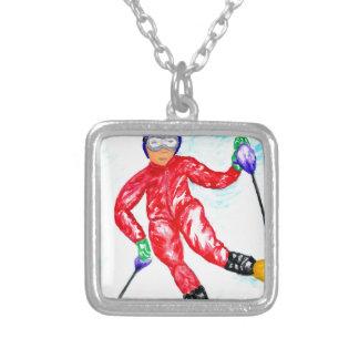 Ilustração do esporte do esquiador colar banhado a prata