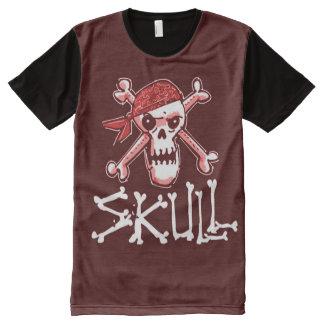 ilustração do estilo do crânio e dos desenhos camisetas com impressão frontal completa