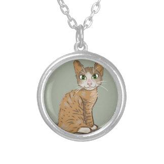 Ilustração do gato de Brown Colar Banhado A Prata