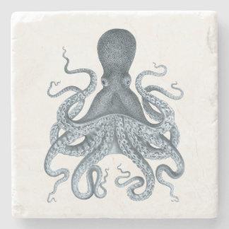 Ilustração do polvo do vintage dos azuis marinhos porta-copo de pedra