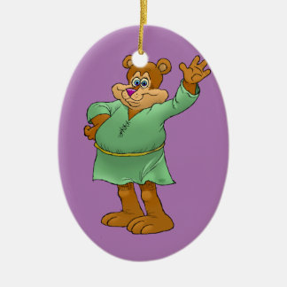Ilustração dos desenhos animados de um urso de ornamento de cerâmica oval