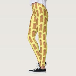 Ilustração feliz do golden retriever leggings