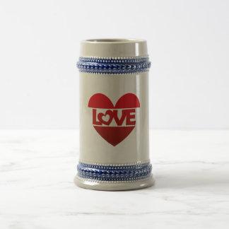 Ilustração Heart with lettering LOVE em conversas Caneca De Cerveja
