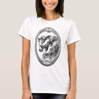 Ilustração preto e branco dos cavalos camiseta