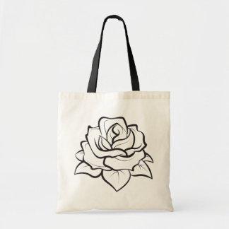 Ilustração preto e branco floral da flor do rosa bolsa tote