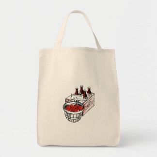 Ilustração rústica do vintage do mantimento | da bolsa tote