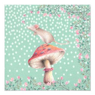 Ilustração sonhadora da aguarela do rato convite quadrado 13.35 x 13.35cm
