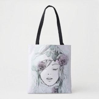 Ilustração tirada da mulher da aguarela mão bolsa tote
