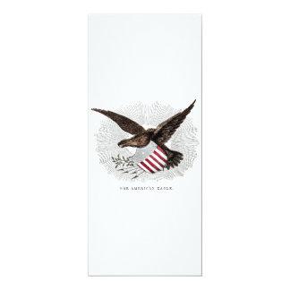 """Ilustração velha do pássaro de Eagle do americano Convite 10.16"""" X 23.49cm"""