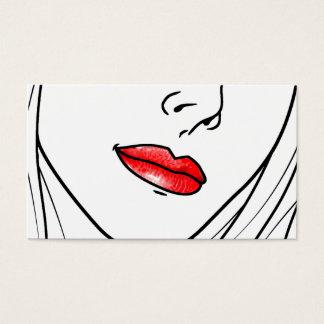 Ilustração vermelha do batom cartão de visitas