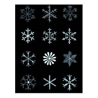 Ilustrações dos flocos de neve (preto) cartão postal