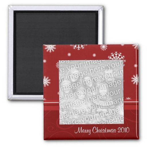 Ímã 2010 vermelho da foto do Feliz Natal Ima De Geladeira