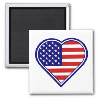 Ímã 2 da bandeira americana da forma do coração ímã quadrado