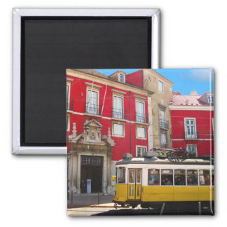 Ímã amarelo do bonde de Lisboa Ímã Quadrado