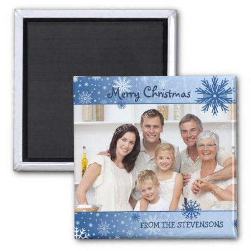 Ímã azul da foto do Feliz Natal da neve Imã De Refrigerador