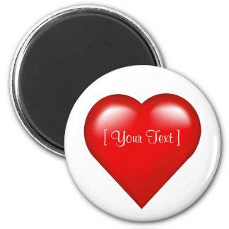 Ímã customizável do modelo do coração vermelho ímã redondo 5.08cm