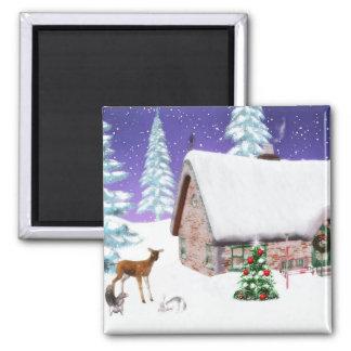 Ímã da casa da floresta do Natal Imã De Refrigerador