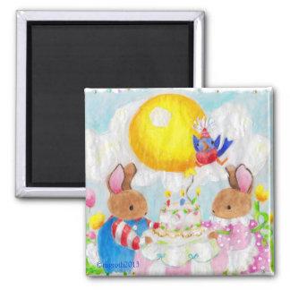 Ímã da festa de aniversário do coelho ímã quadrado