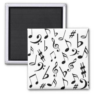 Ímã das notas musicais - preto e branco imã de refrigerador