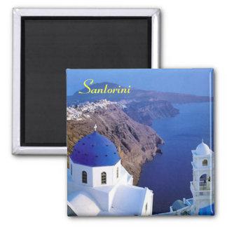 Imã de geladeira de Santorini Ímã Quadrado