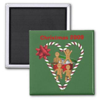 Ímã do feriado do Natal dos homens de pão-de-espéc Ímã Quadrado