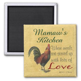 Ímã do refrigerador da cozinha de Mamaw do galo Ímã Quadrado