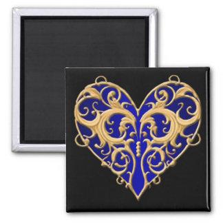 Ímã filigrana azul do coração ímã quadrado