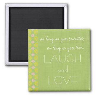 Ímã inspirado do riso e do provérbio do amor ímã quadrado
